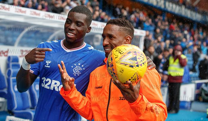 11.08.2019 Rangers v Hibs: Sheyi Ojo and Jermain Defoe