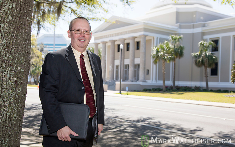 Craig Waters, Director of Public Information for the Florida Supreme Court in front of the Supreme Court building in Tallahassee, Florida.