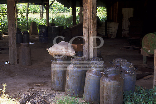 Belterra, Brazil. Latex from rubber tree tapping in plastic drums in a warehouse. Para State.