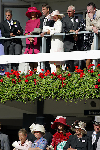 18 June 2004: Racegoers watch from the balconies above the winner's enclosure at Royal Ascot. Photo: Chris Brown/Action Plus...040618 horse racing crowd crowds