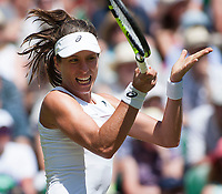 Johanna Konta (GBR) In action during her second round match against Donna Vekic (CRO), Wimbledon Championships 2017, Day 3, All England Lawn Tennis & Croquet Club, Church Rd, London, United Kingdom - 05  July 2017