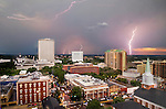 Lightning over downtown Tallahassee, FL and the Florida Capitol.