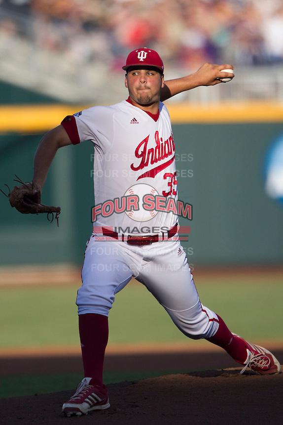 Indiana Hoosiers pitcher/infielder Will Coursen-Carr (35) delivers a pitch to the plate against the Mississippi State Bulldogs during Game 6 of the 2013 Men's College World Series on June 17, 2013 at TD Ameritrade Park in Omaha, Nebraska. The Bulldogs defeated Hoosiers 5-4. (Andrew Woolley/Four Seam Images)