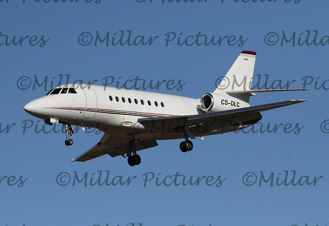 A Netjets Europe Dassault Falcon 2000EX Registered Number CS-DLC landing at Glasgow Airport on 12.10.15.