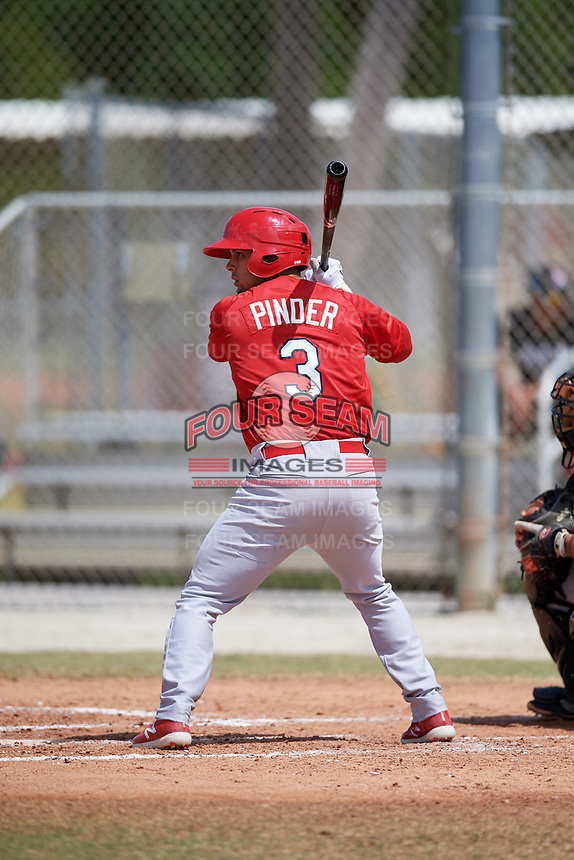 St. Louis Cardinals Chase Pinder (3) during a Minor League Spring Training game against the Miami Marlins on March 26, 2018 at the Roger Dean Stadium Complex in Jupiter, Florida.  (Mike Janes/Four Seam Images)