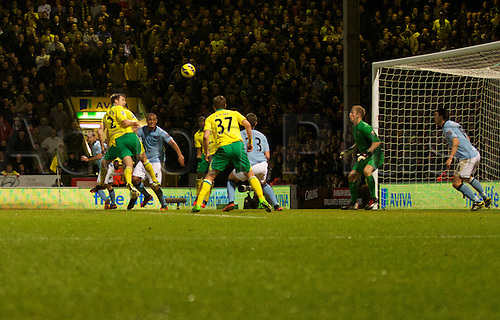 29.12.2012 Norwich, England. Russell Martin scores his first goal during the Premier League game between Norwich and Manchester City from Carrow Road.