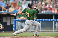 Savannah Sand Gnats designated hitter Matt Oberste #23 swings at a pitch during a game against the Asheville Tourists at McCormick Field September 3, 2014 in Asheville, North Carolina. The Tourists defeated the Sand Gnats 8-3. (Tony Farlow/Four Seam Images)