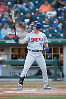 Jordan Patterson (15) of the Buffalo Bisons at bat against the Charlotte Knights at BB&T BallPark on July 24, 2019 in Charlotte, North Carolina. The Bisons defeated the Knights 8-4. (Brian Westerholt/Four Seam Images)