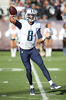 Tennessee Titans quarterback Marcus Mariota #8 during an NFL game between the Tennessee Titans and the Oakland Raiders played at O.co Coliseum  on August 27, 2016. (Michael Zito/AP for Panini)
