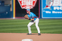 Spokane Indians shortstop Jax Biggers (1) during a Northwest League game against the Vancouver Canadians at Avista Stadium on September 2, 2018 in Spokane, Washington. The Spokane Indians defeated the Vancouver Canadians by a score of 3-1. (Zachary Lucy/Four Seam Images)