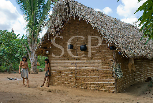 Pará State, Brazil. Aldeia Ipixuna (Araweté). Typical adobe house.