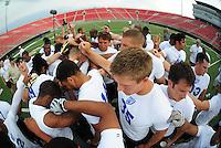 Jun. 13, 2009; Las Vegas, NV, USA; Players huddle following the end of the United Football League workout at Sam Boyd Stadium. Mandatory Credit: Mark J. Rebilas-