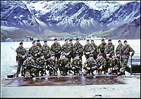 BNPS.co.uk (01202 558833)<br /> Pic: Fraser's/BNPS<br /> <br /> Royal Marines on South Georgia just moments before going into action against the invading Argentinian's.<br /> <br /> The warning note that sparked the countdown to the Falklands War is on sale for a staggering &pound;24,000.<br /> <br /> It captures the moment the governor of the British Protectorate Sir Rex Hunt demanded Argentinian troops leave the remote Atlantic island of South Georgia.  <br /> <br /> Little did he know weeks later the islands would erupt in bloody fighting and 255 British troops would be dead.