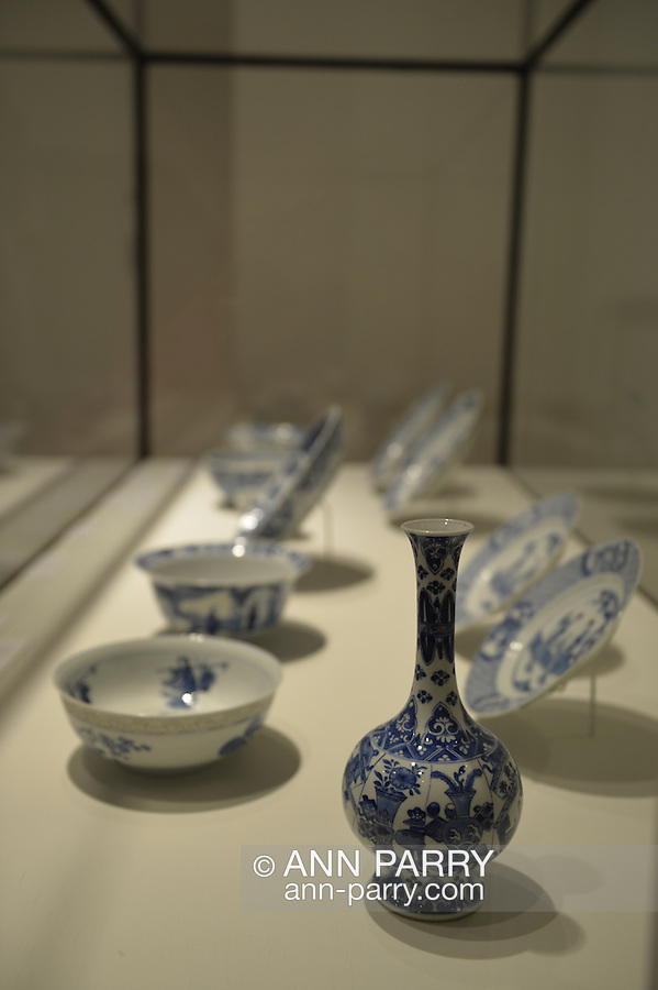 Roslyn, New York, USA. January 2, 2015. Bottle shaped Vase with High Flaring Foot, China, Qing Dynasty, Kangxi period (1662-1722), is on display at the Nassau County Museum of Art China Now and Then Exhibit on Long Island.