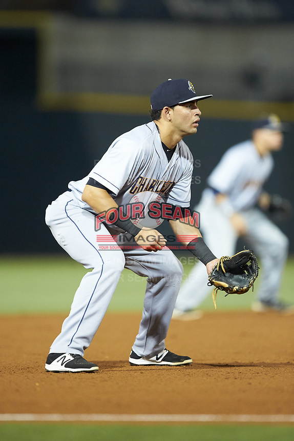 Charleston RiverDogs third baseman Angel Aguilar (2) on defense against the Columbia Fireflies at Spirit Communications Park on June 9, 2017 in Columbia, South Carolina.  The Fireflies defeated the RiverDogs 3-1.  (Brian Westerholt/Four Seam Images)