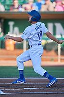 Drew Avans (10) of the Ogden Raptors bats against the Missoula Osprey at Lindquist Field on July 12, 2018 in Ogden, Utah. Missoula defeated Ogden 11-4. (Stephen Smith/Four Seam Images)
