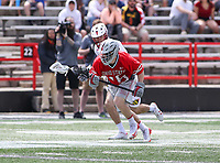 College Park, MD - April 22, 2018: Ohio State Buckeyes Brian Lang (15) gets the ground ball during game between Ohio St. and Maryland at  Capital One Field at Maryland Stadium in College Park, MD.  (Photo by Elliott Brown/Media Images International)