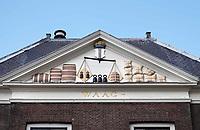 Nederland Delft - Augustus 2018. Gevel van de oude Waag in Delft.   Foto Berlinda van Dam / Hollandse Hoogte