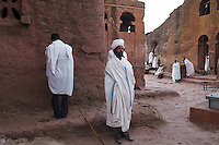 In Lalibela, Ethiopia, early in the morning, before the Timkat celebrations, the priests read the sacre books and stand in contemplations