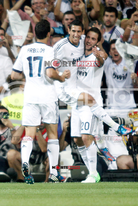 Real Madrid's  Di Maria, Higuain and Arbeola celebrates Higuain&acute;s goal  during Super Copa of Spain on Agost 29th 2012...Photo:  (ALTERPHOTOS/Ricky) Super Cup match. August 29, 2012. <br />