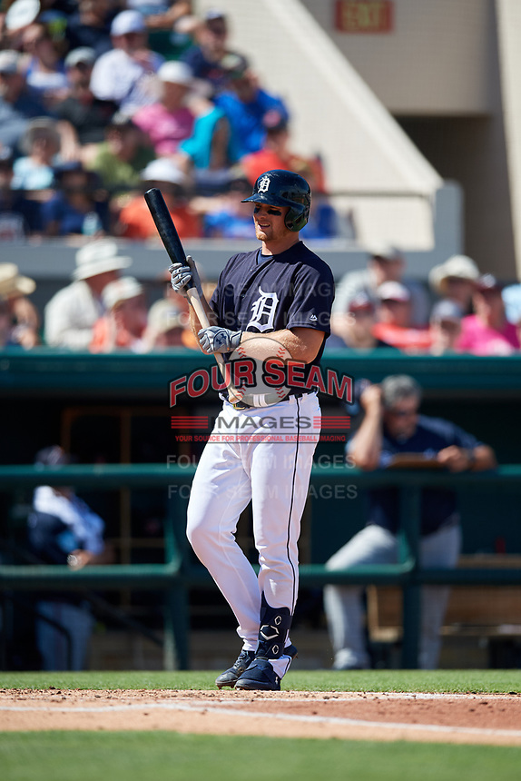 Detroit Tigers catcher John Hicks (55) at bat during a Grapefruit League Spring Training game against the Atlanta Braves on March 2, 2019 at Publix Field at Joker Marchant Stadium in Lakeland, Florida.  Tigers defeated the Braves 7-4.  (Mike Janes/Four Seam Images)