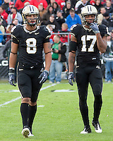 Purdue wide receivers Keith Smith (8) and  Aaron Valentin (17). The Purdue Boilermakers defeated the Ohio State Buckeyes 26-18 at Ross-Ade Stadium, West Lafayette, Indiana on October 17, 2009..