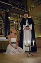 London, UK. 25.10.2014. 'TIS PITY SHE'S A WHORE, by John Ford, opens at the Sam Wanamaker Playhouse, at Shakespeare's Globe. Picture shows: Fiona Button (Annabella) and Michael Gould (Friar Bonaventura). Photograph © Jane Hobson.