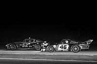 Fred Snow, Jack Swanson, #52 Chevrolet Camaro, leads  Maurico DeNarvaez, Hurley Haywood, #46 Porsche,  Paul Revere 250, Daytona International Speedway, Daytona Beach, Florida, July 4, 1981. (Photo by Brian Cleary/ www.bcpix.com)