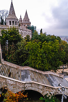 Budapest, Hungary.  The Halászbástya or Fisherman's Bastion on the Castle Hill.