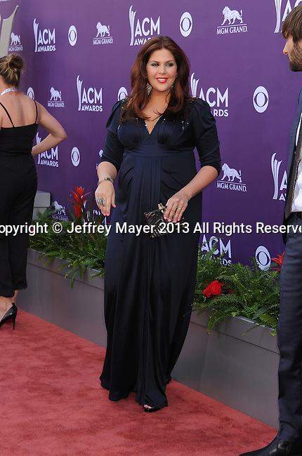 LAS VEGAS, NV- APRIL 07: Hillary Scott of Lady Antebellum arrives at the 48th Annual Academy of Country Music Awards at the MGM Grand Garden Arena on April 7, 2013 in Las Vegas, Nevada.