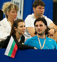 TSVETANA PIRONKOVA watches GRIGOR DIMITROV (BUL) against TOMAS BERDYCH (CZE) in the group stage of the Hopman Cup. Czech Republic beat Bulgaria 6-4 6-7 6-3..02/01/2012, 2nd January 2012, 02.01.2012..The HOPMAN CUP, Burswood Dome, Perth, Western Australia, Australia.@AMN IMAGES, Frey, Advantage Media Network, 30, Cleveland Street, London, W1T 4JD .Tel - +44 208 947 0100..email - mfrey@advantagemedianet.com..www.amnimages.photoshelter.com.