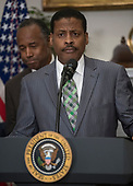 Isaac Newton Farris, Jr., Nephew of Martin Luther King Jr., makes remarks prior to US President Donald J. Trump signing a proclamation to honor Dr. Martin Luther King, Jr. Day in the Roosevelt Room of the White House in Washington, DC on Friday, January 12, 2018.<br /> Credit: Ron Sachs / CNP