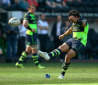 Leinster's Isa Nacewa kicks a penalty<br /> <br /> Photographer Simon King/CameraSport<br /> <br /> Guinness PRO12 Round 19 - Ospreys v Leinster Rugby - Saturday 8th April 2017 - Liberty Stadium - Swansea<br /> <br /> World Copyright &copy; 2017 CameraSport. All rights reserved. 43 Linden Ave. Countesthorpe. Leicester. England. LE8 5PG - Tel: +44 (0) 116 277 4147 - admin@camerasport.com - www.camerasport.com