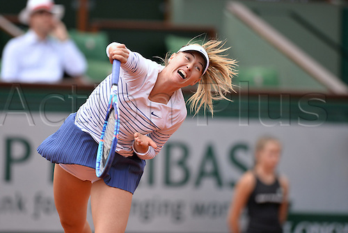 01.06.2015. Roland Garros, Paris, France. Maria Sharapova of Russia in action during her Women's Singles match against Lucie Safarova of Czech Republic on day nine of the 2015 French Open 2015 in Paris, France. Safarova won the match 7-6 6-4 to move into the quarter finals