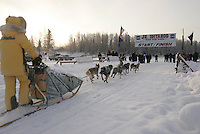 Ellen King near finish line  Jr. Iditarod 2006