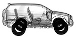 X-ray image of an SUV (black on white) by Jim Wehtje, specialist in x-ray art and design images.