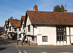 Historic Tudor architecture of the Swan Hotel, Lavenham, Suffolk, England, UK