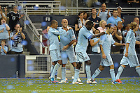 Sporting players celebrate Teal Bunbury's goal..Sporting Kansas City defeated Colorado Rapids 2-0 in Open Cup play at LIVESTRONG Sporting Park, Kansas City, Kansas.