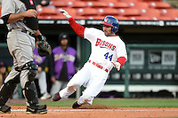 Buffalo Bisons outfielder Darin Mastroianni (44) slides safely into home scoring a run during a game against the Louisville Bats on April 29, 2014 at Coca-Cola Field in Buffalo, New  York.  Buffalo defeated Louisville 4-1.  (Mike Janes/Four Seam Images)