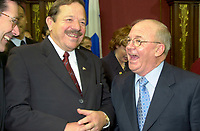FILE PHOTO March 8 2001 Quebec, Canada<br /> <br /> Ministers jacques Brassard (L) and  Guy Chevrette (L)  chat before the presentation of Bernard Landry  new cabinet, March 8 2001, at the National Assembly, in Quebec City.<br /> <br /> <br /> <br /> <br /> Mandatory Credit: Photo by Pierre Roussel- Images Distribution. (&copy;) Copyright 2001 by Pierre Roussel <br /> <br /> NOTE : <br />  Nikon D-1 jpeg opened with Qimage icc profile, saved in Adobe 1998 RGB<br /> .Uncompressed  Original  size  file availble on request.