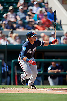 Atlanta Braves catcher Alex Jackson (70) flies out during a Grapefruit League Spring Training game against the Detroit Tigers on March 2, 2019 at Publix Field at Joker Marchant Stadium in Lakeland, Florida.  Tigers defeated the Braves 7-4.  (Mike Janes/Four Seam Images)