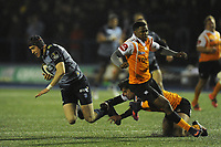 Cardiff Blues&rsquo; Rhun Williams is tackled by Toyota Cheetahs&rsquo; Francois Venter<br /> <br /> Photographer Kevin Barnes/CameraSport<br /> <br /> Guinness Pro14  Round 14 - Cardiff Blues v Toyota Cheetahs - Saturday 10th February 2018 - Cardiff Arms Park - Cardiff<br /> <br /> World Copyright &copy; 2018 CameraSport. All rights reserved. 43 Linden Ave. Countesthorpe. Leicester. England. LE8 5PG - Tel: +44 (0) 116 277 4147 - admin@camerasport.com - www.camerasport.com