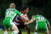Ahsee Tuala runs into Hadleigh Parkes & Shannon Paku. ITM Cup rugby game between Counties Manukau and Manawatu played at Bayer Growers Stadium on Saturday August 21st 2010..Counties Manukau won 35 - 14 after leading 14 - 7 at halftime.