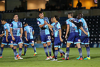 Scott Kashket of Wycombe Wanderers (right) celebrates scoring his team's second goal to make it 2-0 with Sam Wood of Wycombe Wanderers (left) during the The Checkatrade Trophy match between Wycombe Wanderers and West Ham United U21 at Adams Park, High Wycombe, England on 4 October 2016. Photo by David Horn.