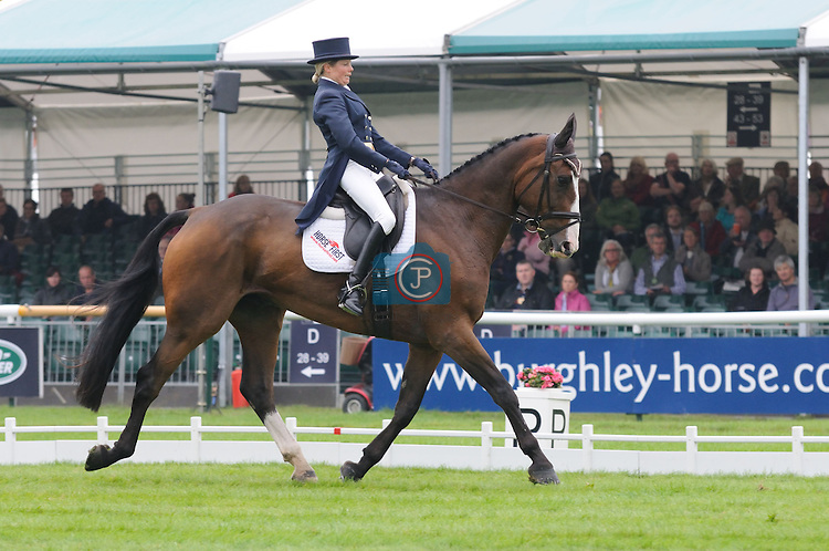 Louise Harwood riding Mr Potts during the Dressage Phase of the 2013 Land Rover Burghley Horse Trials