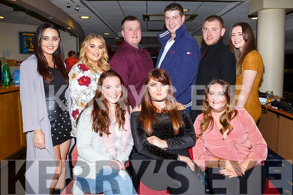 Katie O'Halloran, seated front centre, from Ballyheigue celebrating her 25th birthday in the Greyhound Track with her friends on Saturday night last.