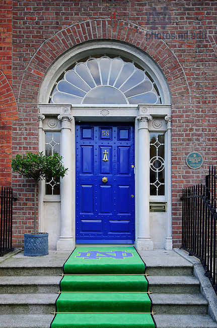 Aug. 29, 2012; Door to O'Connell House, Dublin, Ireland...Photo by Matt Cashore/University of Notre Dame