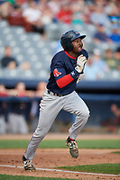 Lowell Spinners designated hitter Xavier LeGrant (15) runs to first base during a game against the Connecticut Tigers on August 26, 2018 at Dodd Stadium in Norwich, Connecticut.  Connecticut defeated Lowell 11-3.  (Mike Janes/Four Seam Images)