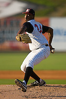 Starting pitcher Dexter Carter #24 of the Kannapolis Intimidators in action versus the Delmarva Shorebirds at Fieldcrest Cannon Stadium June 1, 2009 in Kannapolis, North Carolina. (Photo by Brian Westerholt / Four Seam Images)