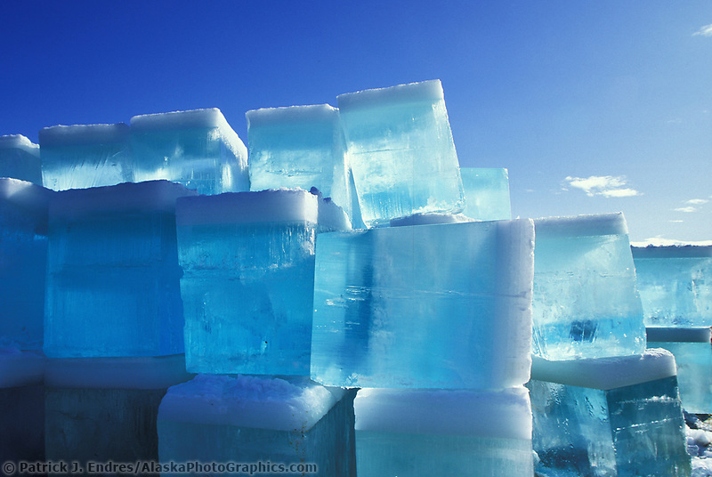 Stacks of ice blocks to be stored throughout summer for the World Ice Sculpting Competition in Fairbanks, Alaska